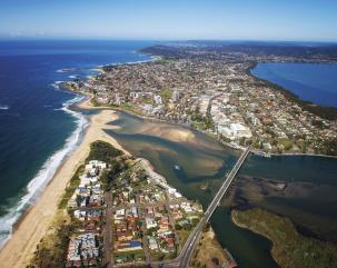 Aerial View of The Entrance on the Central Coast. Credit Destination NSW